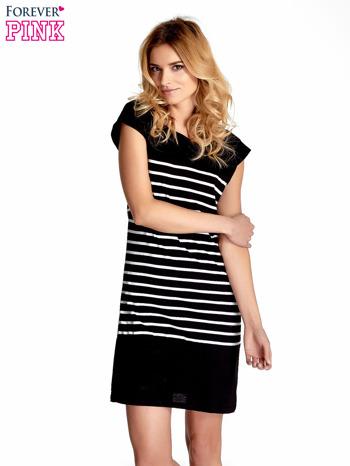 Czarna sukienka w białe paski                                  zdj.                                  1