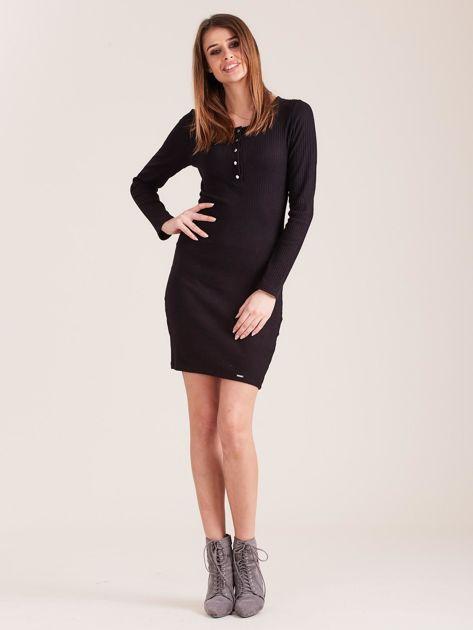 Czarna sukienka w prążek z guzikami                              zdj.                              4