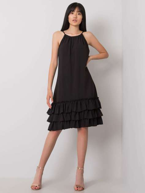 Czarna sukienka z falbaną Routh RUE PARIS