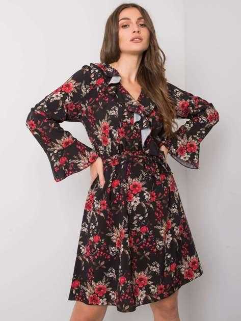 Czarna sukienka z falbanami Milis