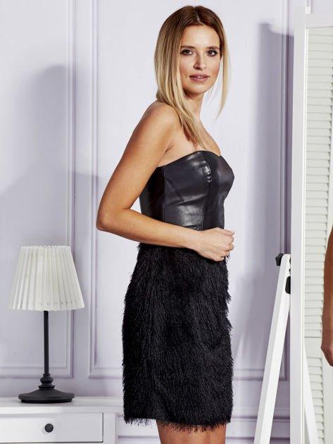 Czarna sukienka z frędzelkami                               zdj.                              3