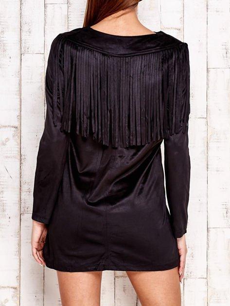 Czarna sukienka z frędzlami                                  zdj.                                  2