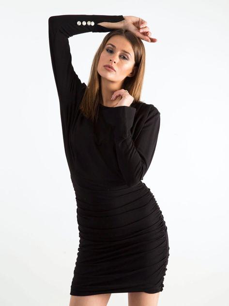 Czarna sukienka z marszczeniem BY O LA LA                               zdj.                              1