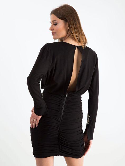 Czarna sukienka z marszczeniem BY O LA LA                               zdj.                              2