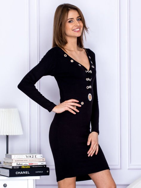 Czarna sukienka z ozdobnymi kółeczkami                                  zdj.                                  3