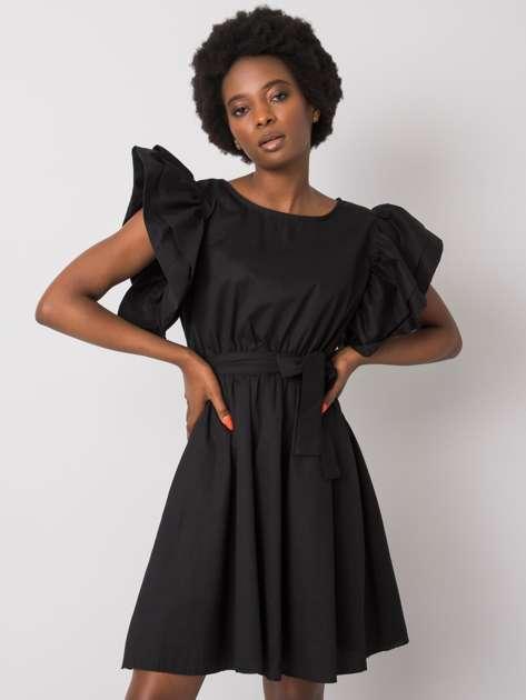 Czarna sukienka z ozdobnymi rękawami Sheila