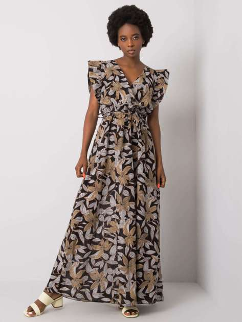 Czarna sukienka z printem Selena