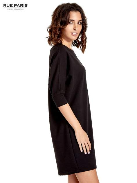Czarna sukienka z rękawem przed łokieć                                  zdj.                                  3