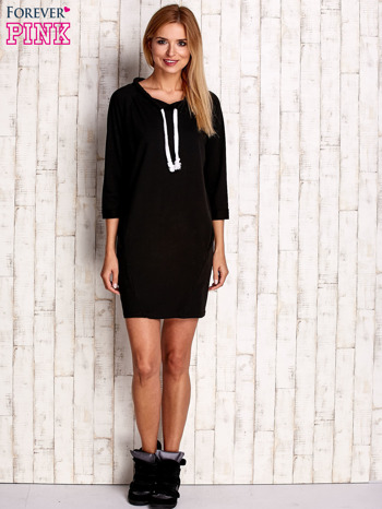 Czarna sukienka z troczkami                              zdj.                              2