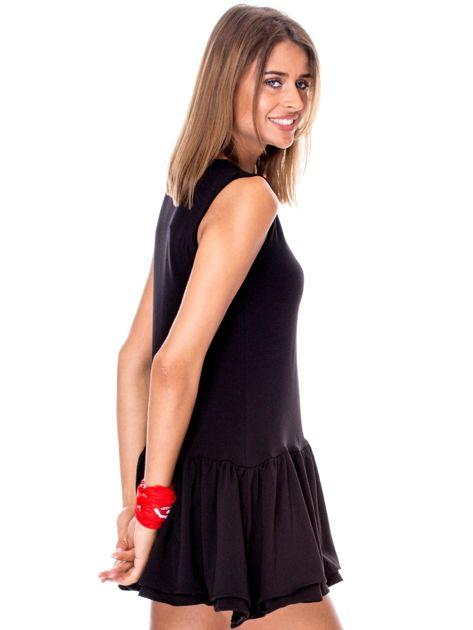 Czarna sukienka z warstwowymi falbanami                              zdj.                              5