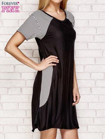 Czarna sukienka z wstawkami w paski                                  zdj.                                  3