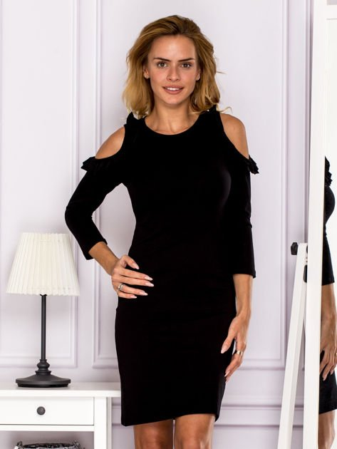Czarna sukienka z wycięciami na ramionach                                  zdj.                                  1
