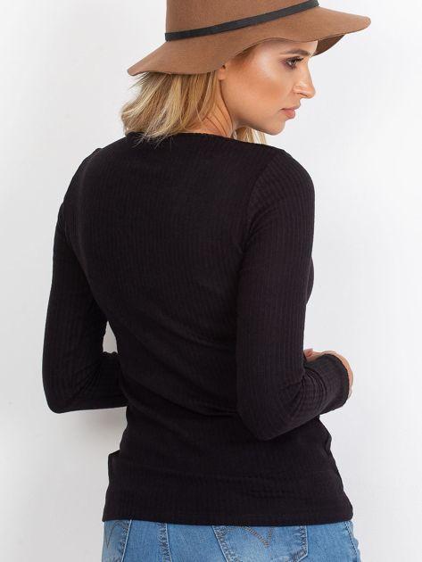 Czarna sznurowana bluzka w prążek                              zdj.                              2
