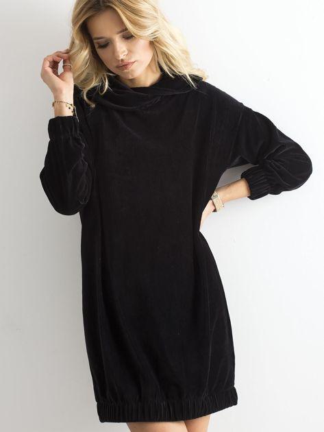 Czarna sztruksowa sukienka                              zdj.                              1