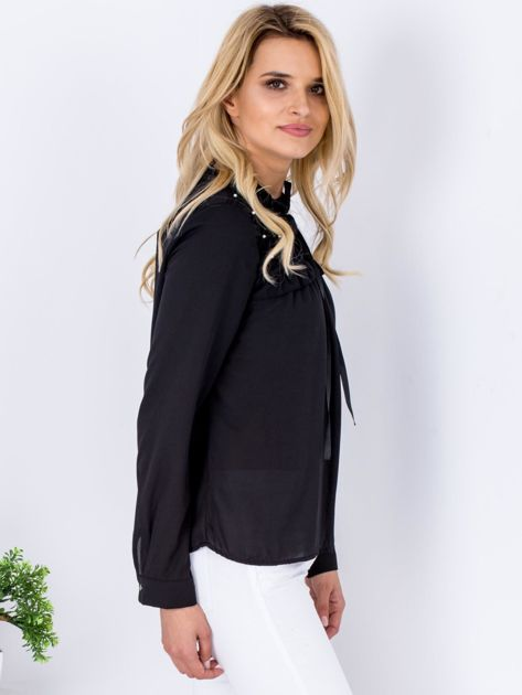 Czarna szyfonowa bluzka z wiązaniem i perełkami                              zdj.                              3