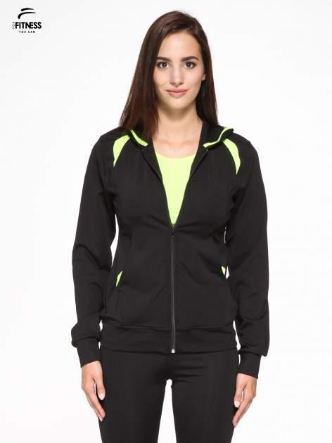 Czarna termoaktywna bluza do biegania z kapturem i fluozielonymi wstawkami ♦ Performance RUN                                  zdj.                                  1