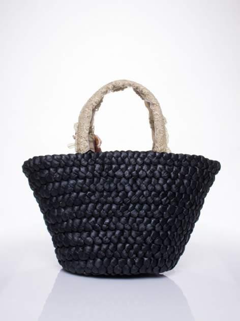 Czarna torba koszyk plażowy z kwiatami                                  zdj.                                  4