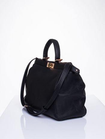 Czarna torba kuferek zapinana na zatrzask                                  zdj.                                  3