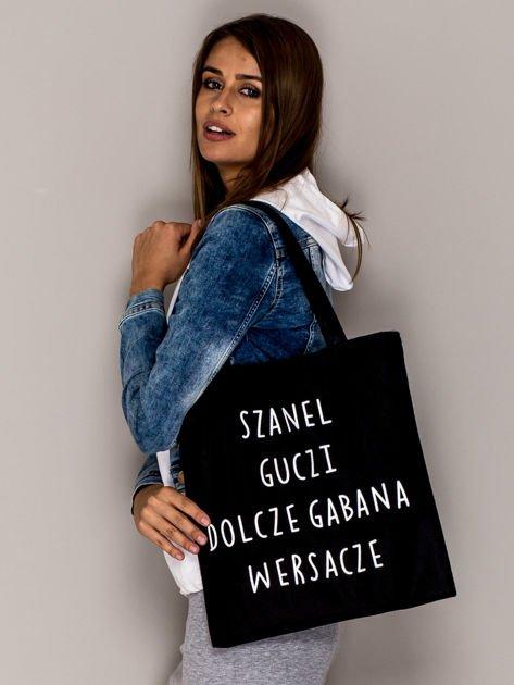 Czarna torba materiałowa SZANEL GUCZI DOLCZE GABANA WERSACZE                               zdj.                              2
