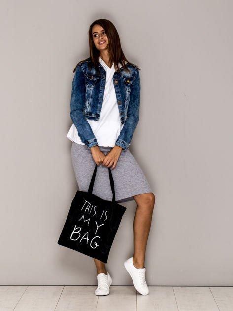 Czarna torba materiałowa THIS IS MY BAG                                  zdj.                                  4