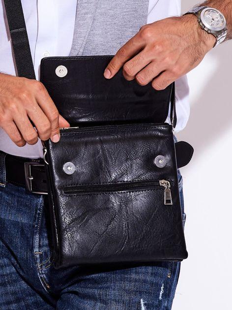 Czarna torba męska z kieszonką na suwak                              zdj.                              2