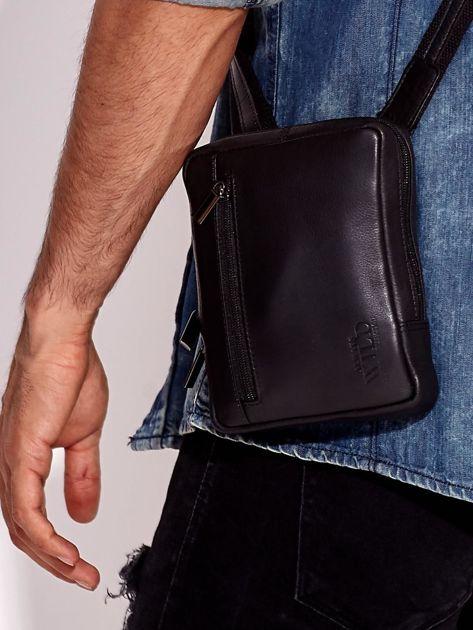 Czarna torba męska ze skóry naturalnej na ramię                              zdj.                              1