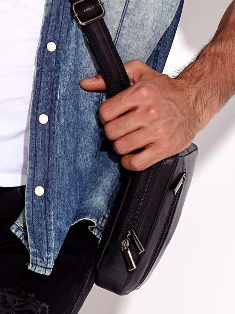 Czarna torba męska ze skóry naturalnej na ramię                              zdj.                              2