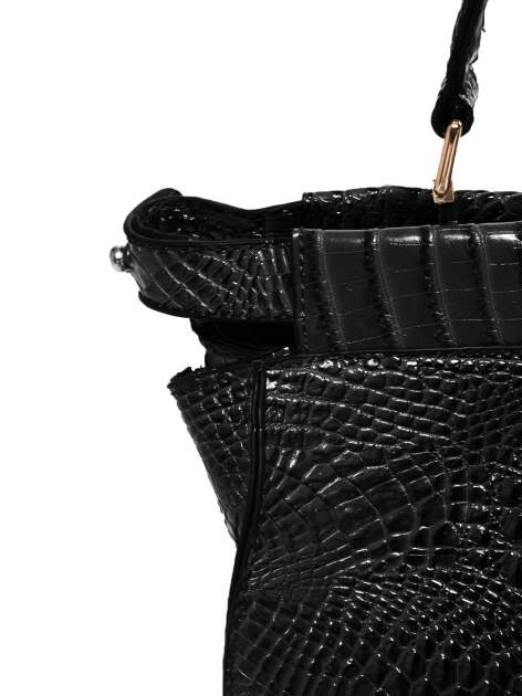 Czarna torba miejska z efektem krokodylej skóry                                  zdj.                                  4