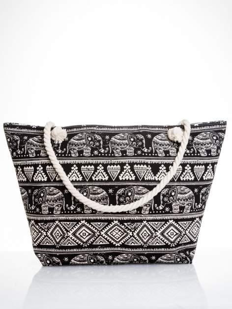 Czarna torba plażowa w indyjskie wzory                                  zdj.                                  1