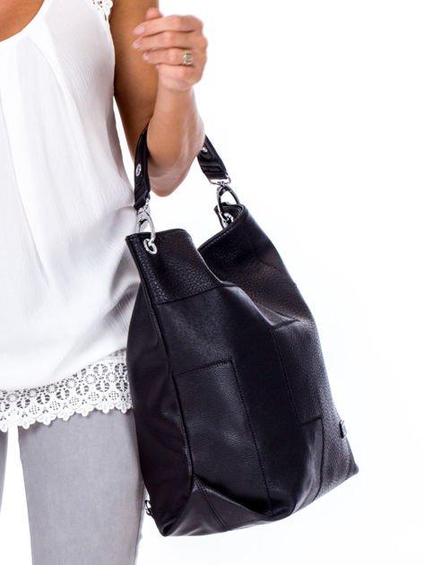 Czarna torba-plecak z odpinanymi szelkami                              zdj.                              4