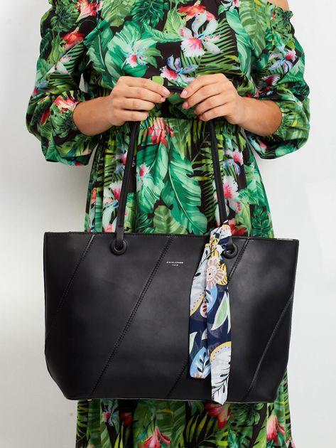 Czarna torba shopper bag z apaszką                              zdj.                              1
