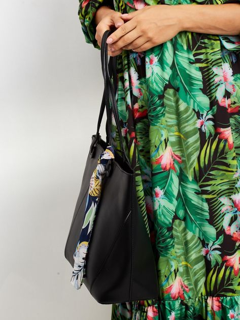 Czarna torba shopper bag z apaszką                              zdj.                              2