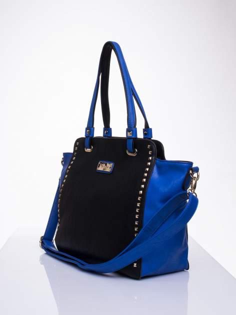Czarna torba shopper bag z ozdobnymi ćwiekami                                  zdj.                                  3
