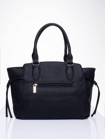 Czarna torba shopper bag ze złotymi wstawkami                                  zdj.                                  2