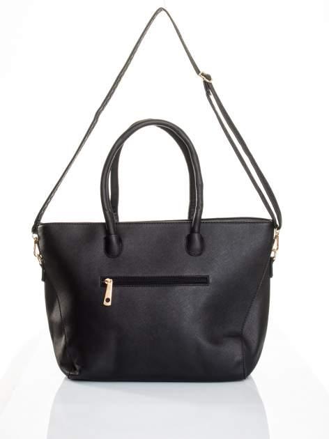 Czarna torba shopper efekt saffiano                                  zdj.                                  5