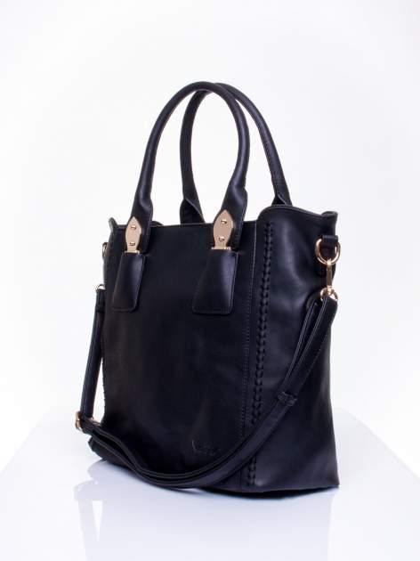 Czarna torba shopper ze stębnowaniem                                  zdj.                                  2
