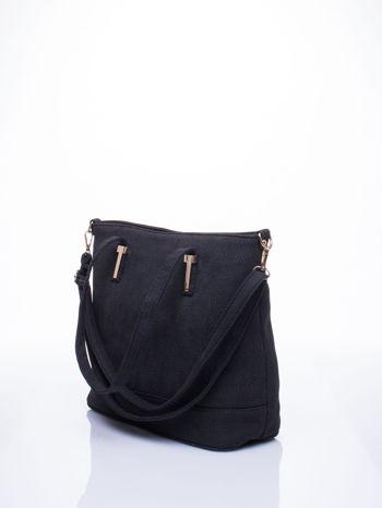 Czarna torba shopperka z odczepianym paskiem                                   zdj.                                  4