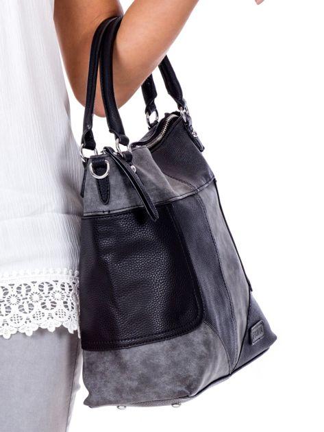Czarna torba z łączonych materiałów                              zdj.                              3