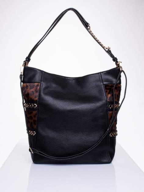 Czarna torba z motywem panterkowym i odpinanym paskiem                                  zdj.                                  1