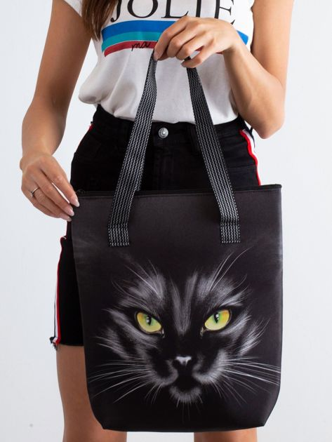 Czarna torba z nadrukiem kota                              zdj.                              3