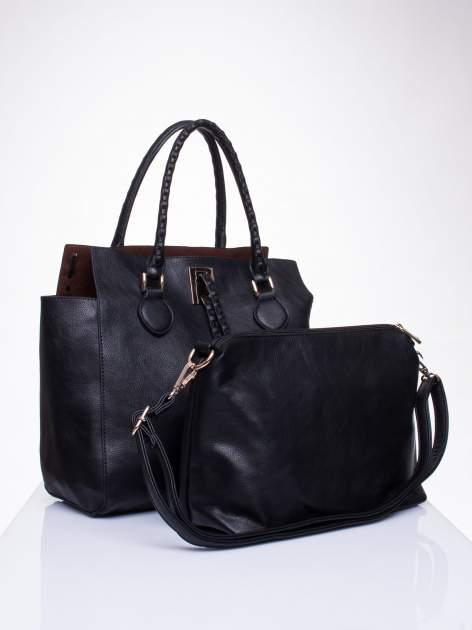 Czarna torba z ozdobnymi skórzanymi troczkami                                  zdj.                                  4
