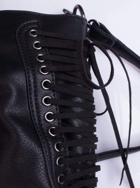 Czarna torba ze sznurowaniem po bokach                                  zdj.                                  5
