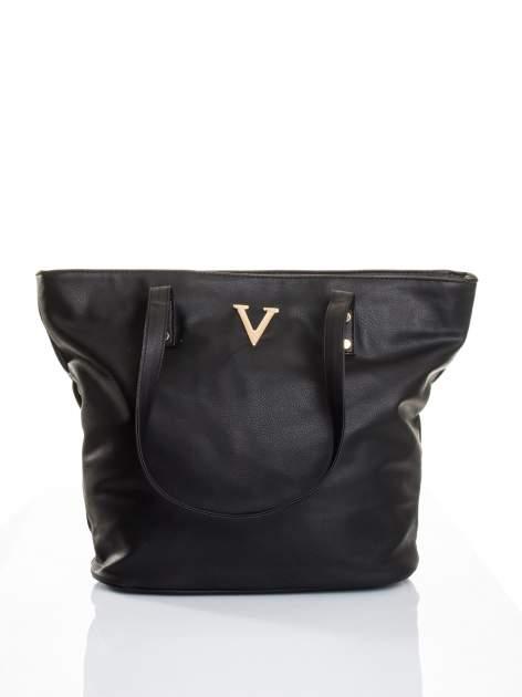Czarna torba ze złotym detalem                                  zdj.                                  1