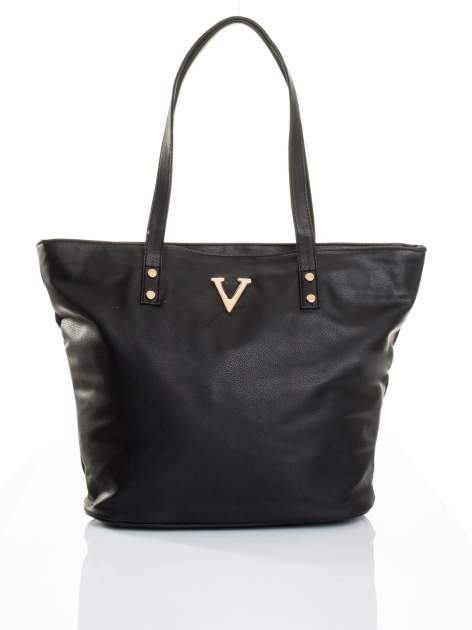 Czarna torba ze złotym detalem                                  zdj.                                  5
