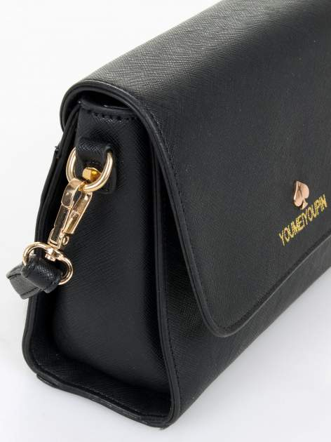 Czarna torebka listonoszka z klapką ze skóry saffiano                                  zdj.                                  5