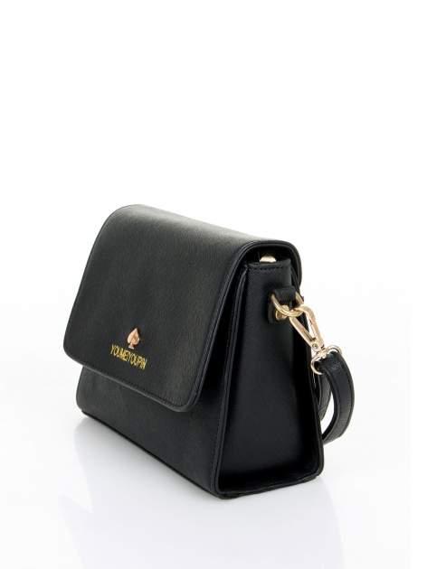 Czarna torebka listonoszka z klapką ze skóry saffiano                                  zdj.                                  3