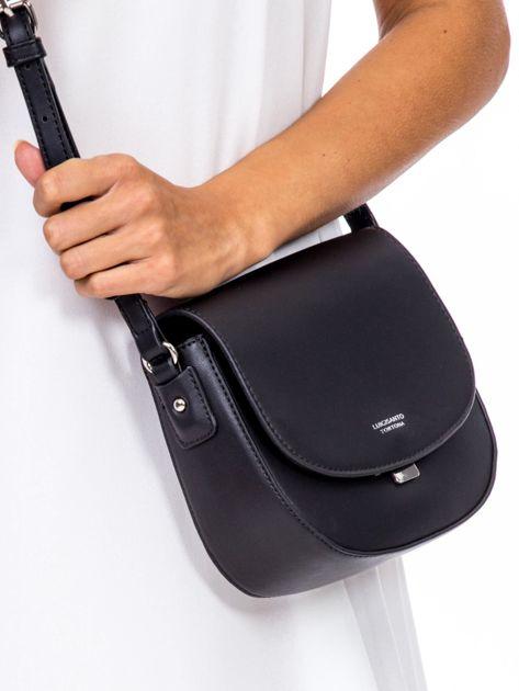 Czarna torebka listonoszka ze skóry ekologicznej                              zdj.                              3