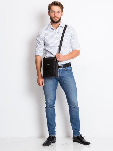 Czarna torebka męska z klapką                              zdj.                              4