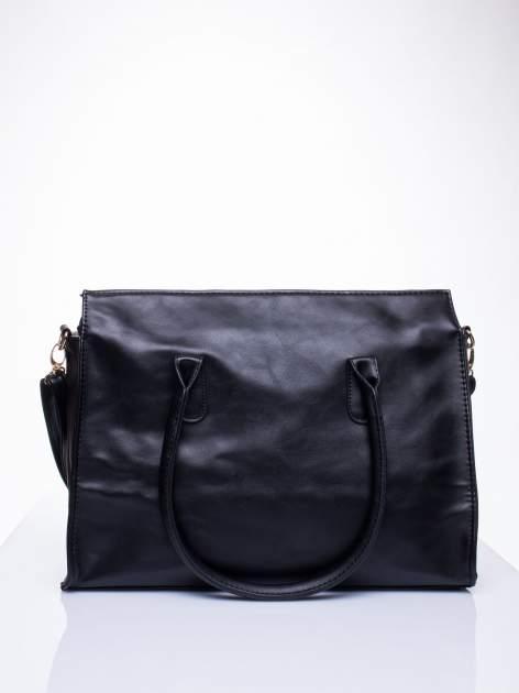 Czarna torebka teczka z klapką                                  zdj.                                  4
