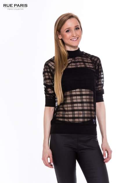 Czarna transparentna bluza w kratę z półgolfem